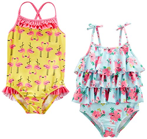 a5d55a2f2 One Pieces – Simple Joys by Carter's Baby Girls' Toddler 2-Pack One-Piece  Swimsuits, Yellow Flamingo/Blue Floral, 3T
