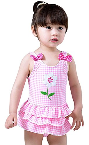 c47877ab8735c One Pieces – Meeyocc Toddler Infant Baby Girls Summer Swim Dress Cute  Flower Grid One Piece Sleeveless Swimsuit Pink Bathing Suit 2-3 Years Offers
